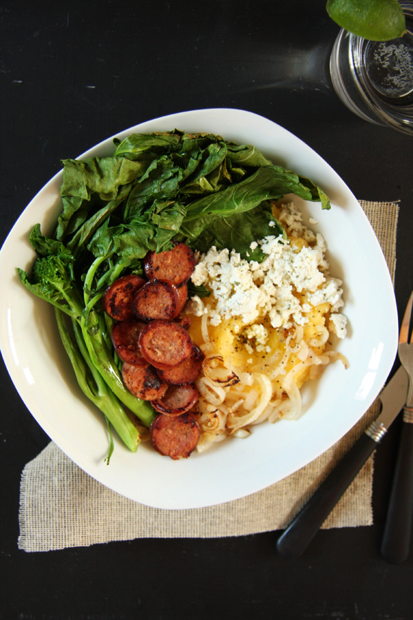 Broccoli Rabe, Sausage & Goat Cheese Polenta Bowl I 24 Carrot Life