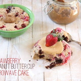 Strawberry Peanut Butter Cup Microwave Cake