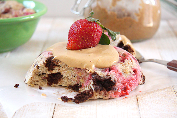 Strawberry Peanut Butter Cup Microwave Cake (option to add protein powder) I 24 Carrot Life