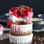 Mini Protein Cheesecakes with Raspberry Sauce