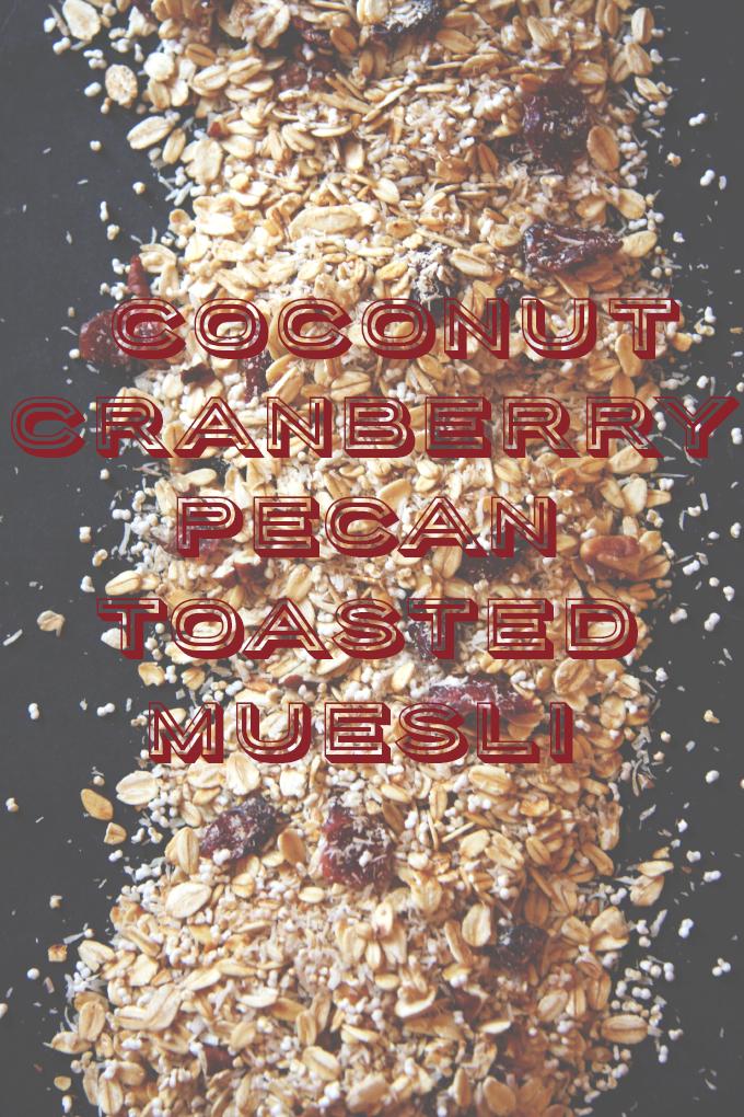 Toasted Coconut Cranberry Pecan Muesli // 24 Carrot Life #muesli #overnightoats