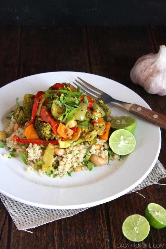 Vegetarian Curry Stew with Cashew Quinoa // 24 Carrot Life #vegetarian #vegan #glutenfree #healthy