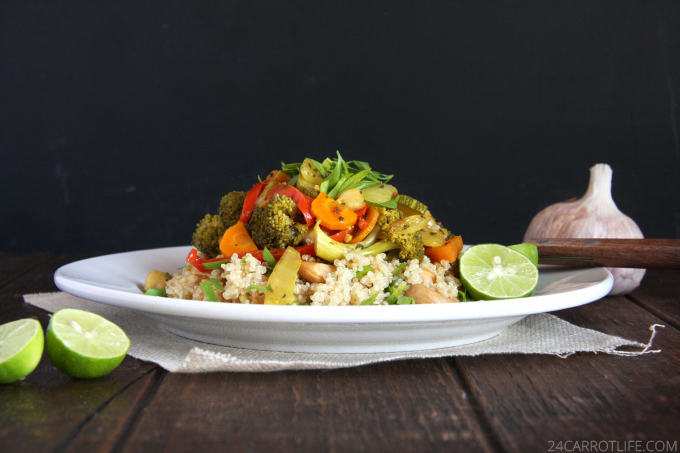 Vegetarian Curry Stew with Cashew Quinoa // 24 Carrot Life #vegetarian #vegan #glutenfree #healthy