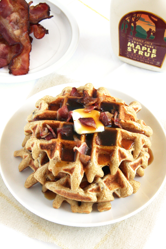 Maple Bacon Waffles // 24 Carrot Life #glutenfree #healthy #bacon #maple