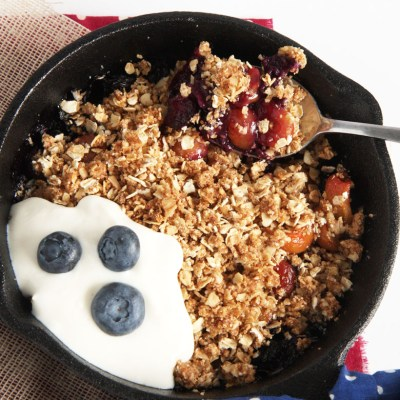 Personal Red, White, and Blue Summer Berry Crisp