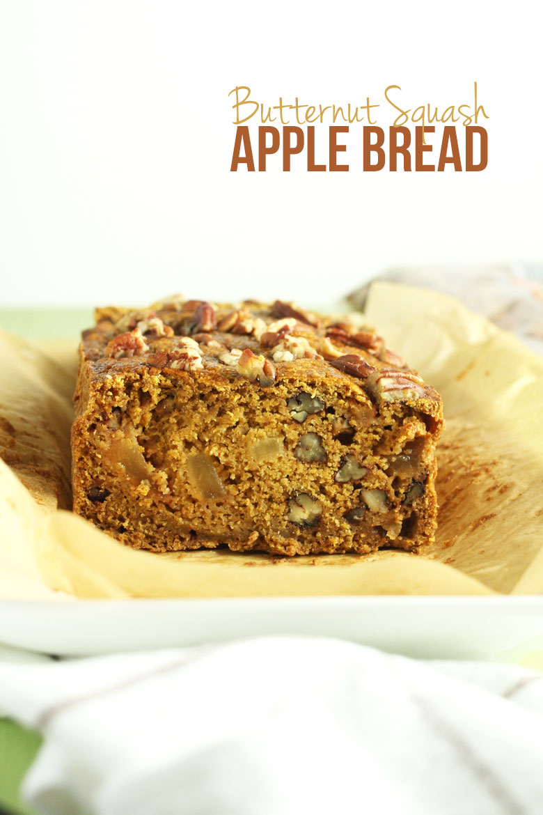 Butternut Squash Apple Bread- this bread is moist, flavorful, healthy, AND it uses seasonal ingredients // 24 Carrot Life #apple #butternutsquash #quickbread