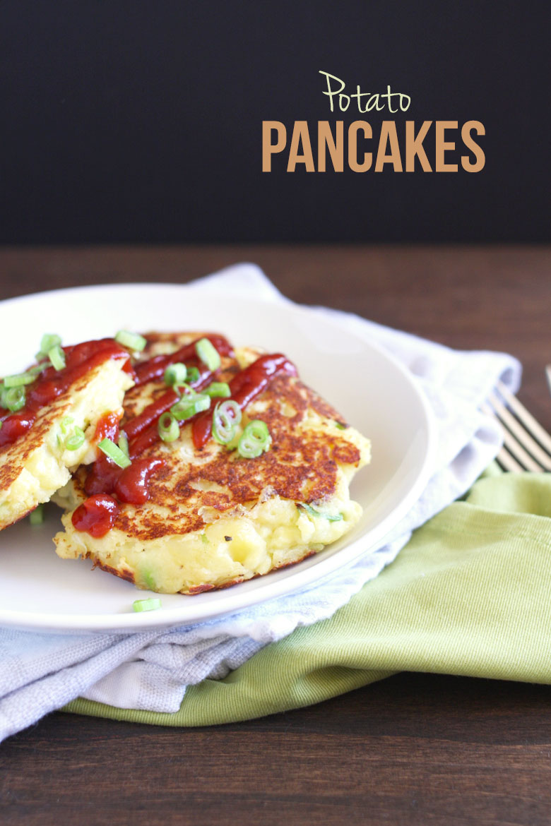 Simple Potato Pancakes- The perfect way to use up leftover mashed potatoes // 24 Carrot Life #thanksgiving #potatoes #healthy