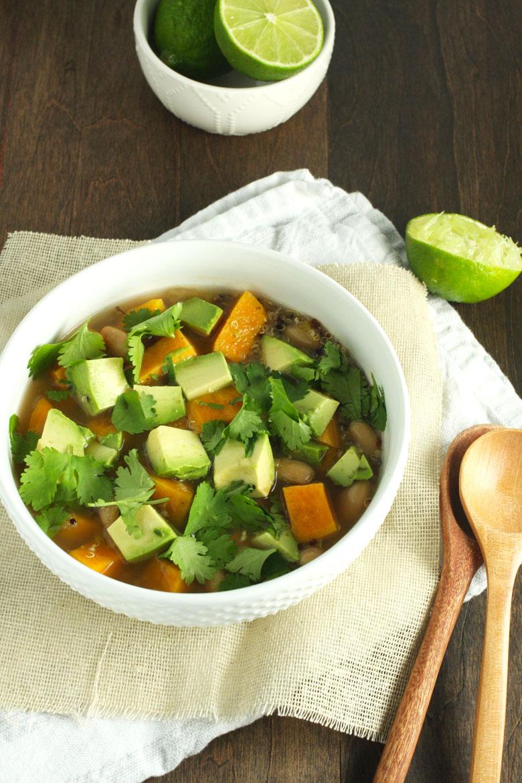Crockpot Veggie and Quinoa Salsa Verde Soup // 24 Carrot Life #crockpot #slowcooker #quinoa #vegetables #sweetpotato