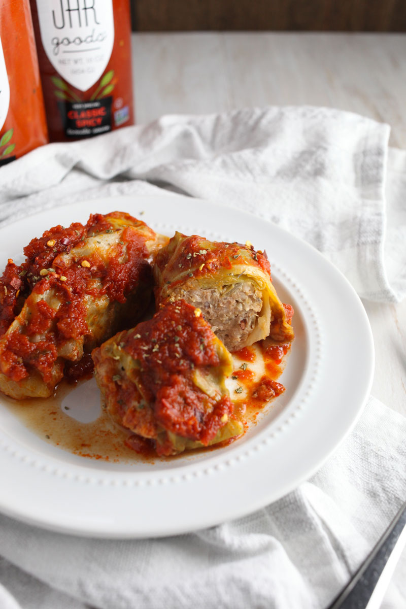 Stuffed Cabbage Rolls // Filled with lean ground turkey and mushrooms and cooked in the best store-bought tomato sauce @jargoods #sponsored