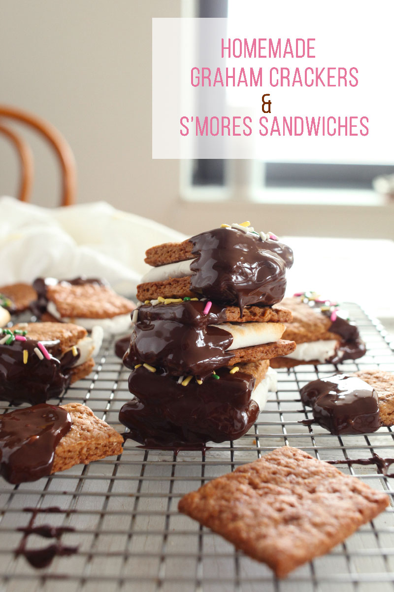 Homemade Graham Crackers & S'mores Sandwiches