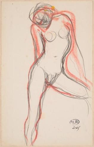 Female Nude with Left Leg Outstretched-