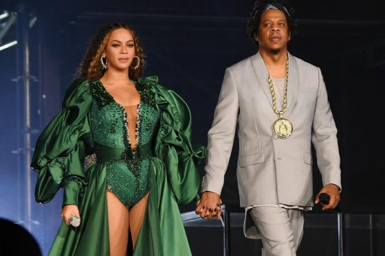 Jay-Z and Beyonce Spotted Sitting Down During National Anthem at Super Bowl