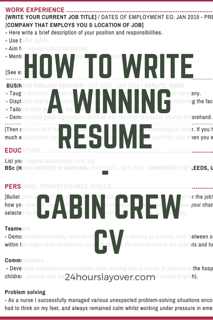 Cabin Crew Cv How To Write A Winning Resume 24 Hours Layover