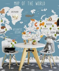 childrens world map wall art