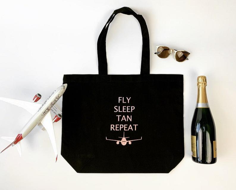 fly sleep tan repeat flight attendant bag