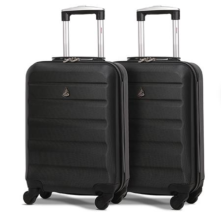 black hard cabin suitcase 2 set