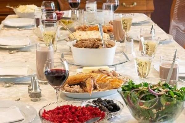 Thanksgiving dinner menu food table cranberries