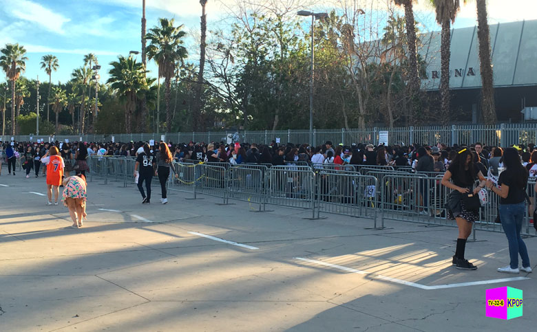 Fans gather for at LA venue for EXO