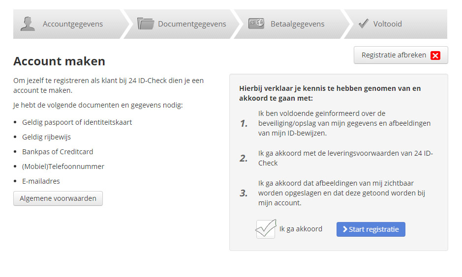 Registratiescherm, 24IDCheck, webmodule