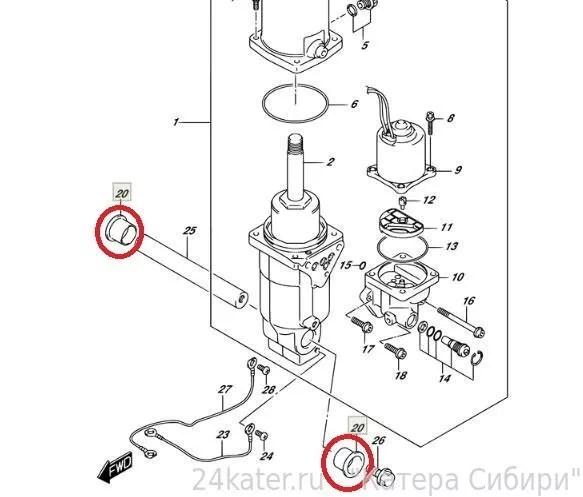 Ремкомплект втулок цилиндра гидравлики Suzuki 50-300
