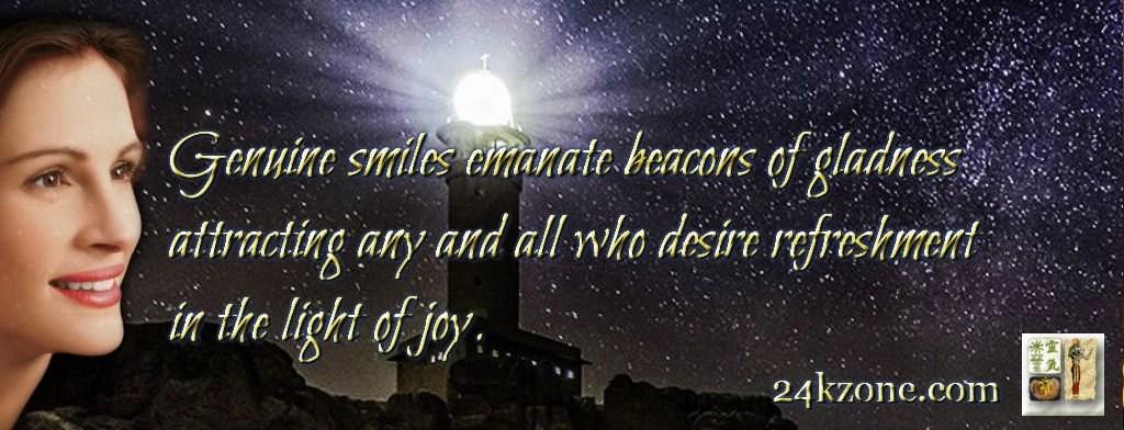 Genuine smiles emanate beacons of gladness
