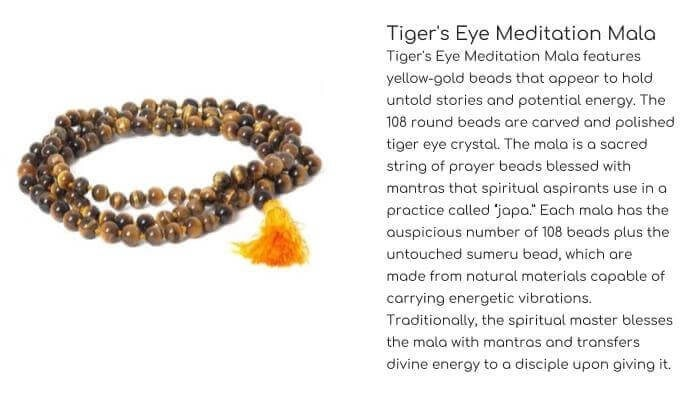 OMSUTRA Tiger's Eye Meditation Mala