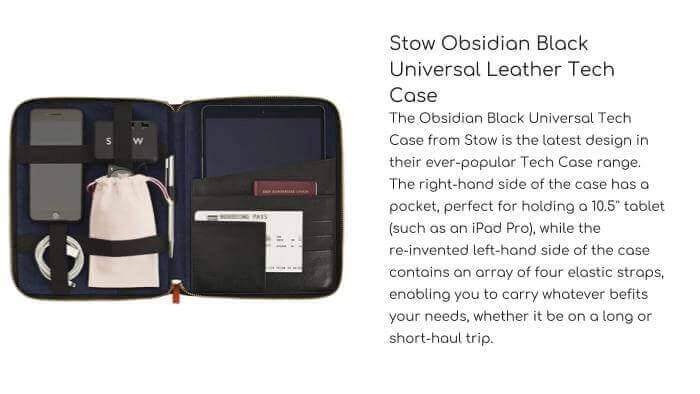STOW Obsidian Black Universal Leather Tech Case