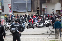 Bikers arrive at Max-Joseph-Platz, Munich city center.