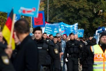 450 counter asylum demonstrators move through Freilassing.