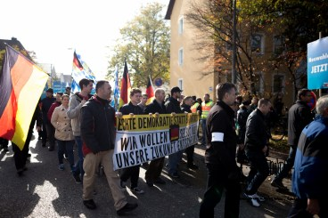 """Banners from the """"Identitäre Bewegung"""" demanding for real democracy. The logo of the new far-right movement is over taped with a german flag."""