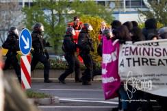 USK - riot police - surrounds road-block on Flughafenstrasse.