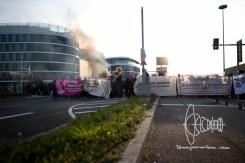 Demonstrators block Flughafenstrasse
