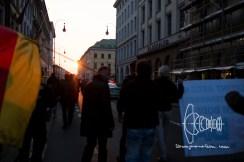 Sunset - PEGIDA starts marching.