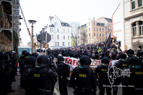 'Time to Act' demonstration is stopped by riot police to prevent clashes between antifacists and neonazis.