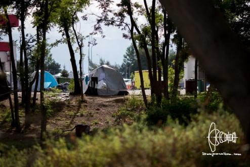 Empty tents.