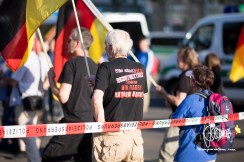 T-Shirt of a PEGIDA participant stating (roughly translated): we are not right-extremists, we are extremly right.
