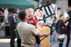 Activist exploits child for rally.
