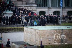 Military, Officials and Student Fraternities hold memorial for fallen soldiers and all people killed in front of Bavarian state chancellery.