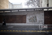 Wall that reminds of the borders of the jewish ghetto during nazi occupation.