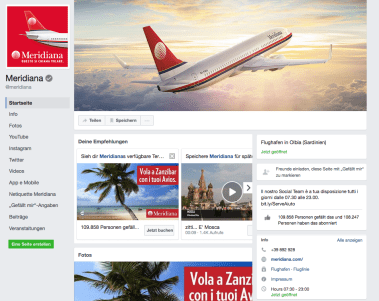 Facebook Fanpage of Meridiana