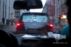 Heads honking through inner-city Munich