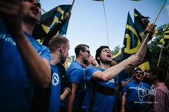 Bavarian members of the Identitarian Movement show up clothed in uniform: Lederhosen and blue T-Shirts