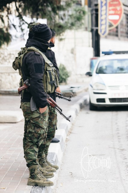 Palestinian Army guards with AK's.