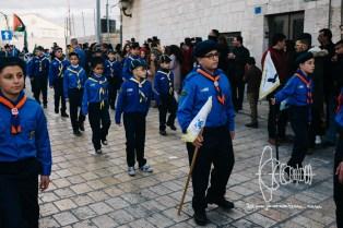 Boyscouts parading.