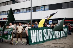 """Peter Meidl - PEGIDA Muenchen and """"Die Rechte"""" activists - being investigated against for denial of the holocaust - joins every far right event."""