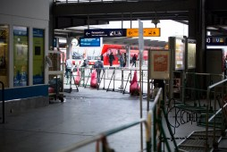 Empty registration area for new arriving refugees.