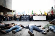 Protestors hold rally and flashmob in Munich to show solidarity and commemorance to the people killed in Ankara.