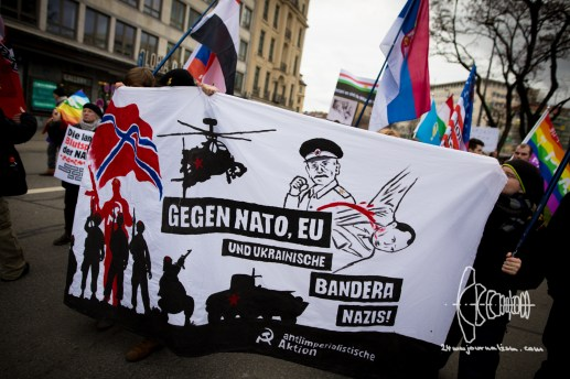 """""""Anti-imperialist Action Munich"""" forms a small block. Statements by this group concerning conflicts with Russia, the Syrian civil war and the Middle-East are filled with conspiracies."""