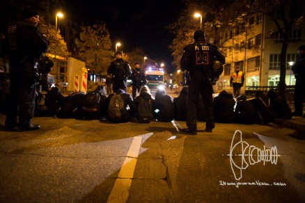Antifascists block road.
