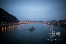 A boat on the Danube during sunset.